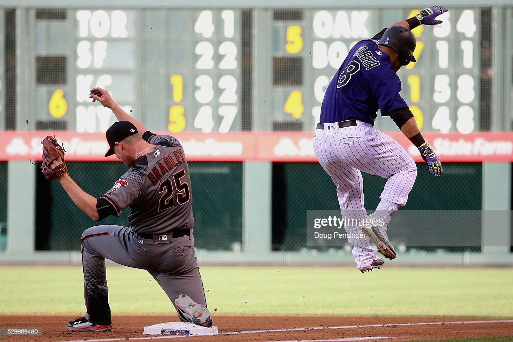 Starting pitcher Archie Bradley #25 of the Arizona Diamondbacks gets the put out on Gerardo Parra #8 of the Colorado Rockies at first base as he gounds out in the first inning at Coors Field on May 09, 2016 in Denver, Colorado. The Diamondbacks defeated the Rockies 10-5.
