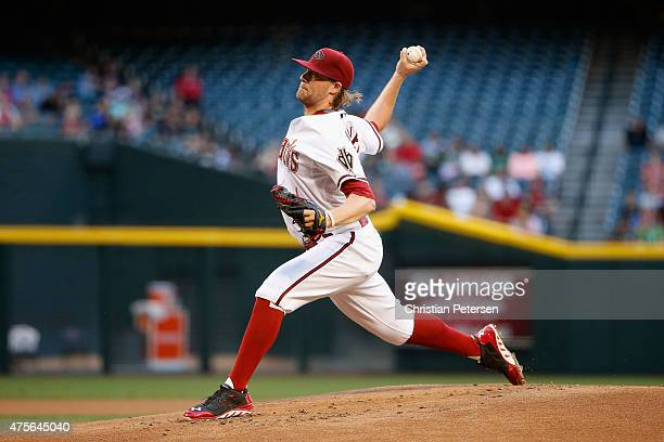 Starting pitcher Archie Bradley of the Arizona Diamondbacks pitches against the Atlanta Braves during the first inning of the MLB game at Chase Field...
