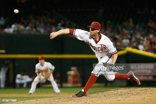 Starting pitcher Archie Bradley of the Arizona Diamondbacks throws a pitch during the MLB game against the Atlanta Braves at Chase Field on June 1...