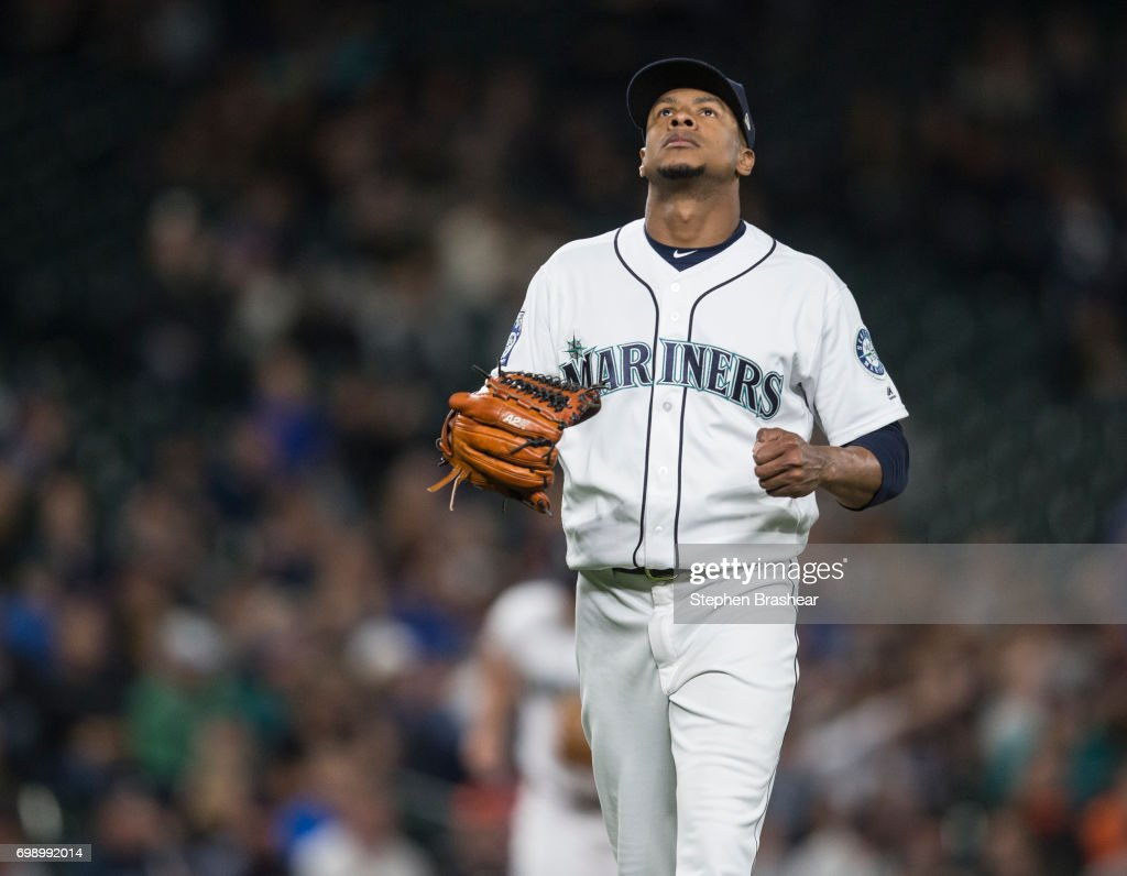 Starting pitcher Ariel Miranda #37 of the Seattle Mariners reacts as he walks off after pitching the seventh inning during a game against the Detroit Tigers at Safeco Field on June 20, 2017 in Seattle, Washington.