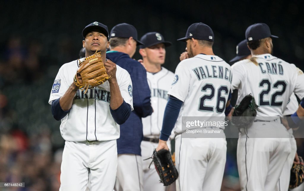 Starting pitcher Ariel Miranda #37 of the Seattle Mariners walks off off the field after being pulled from a game against the Houston Astros in the sixth inning at Safeco Field on April 11, 2017 in Seattle, Washington.
