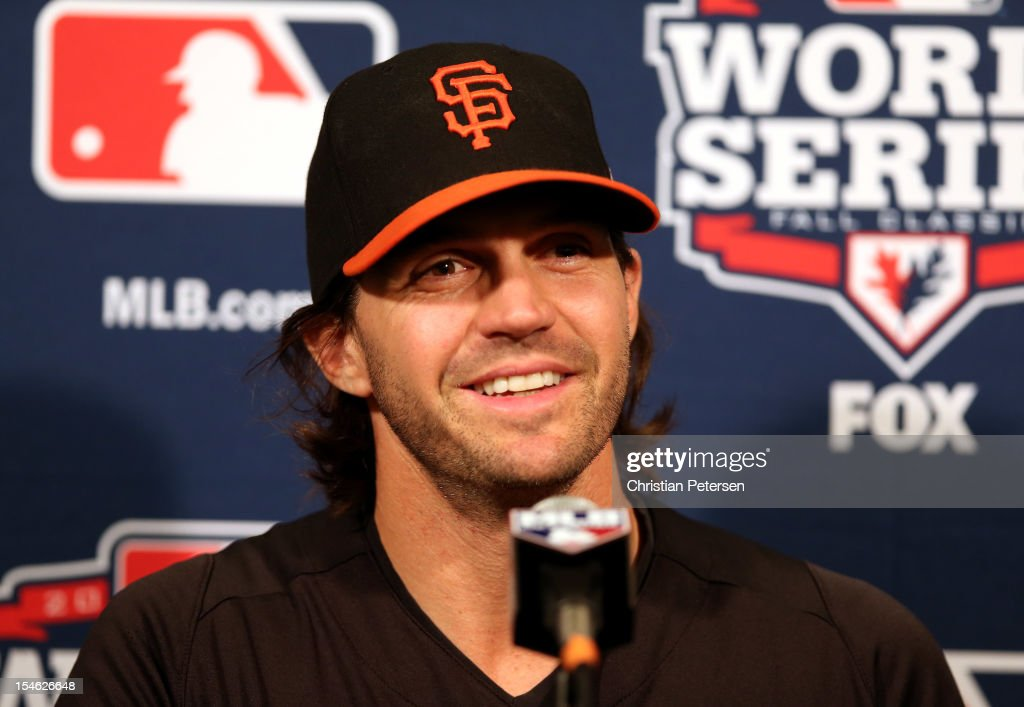Starting pitcher Barry Zito of the San Francisco Giants answers questions during World Series Media Day at ATT Park on October 23 2012 in San...