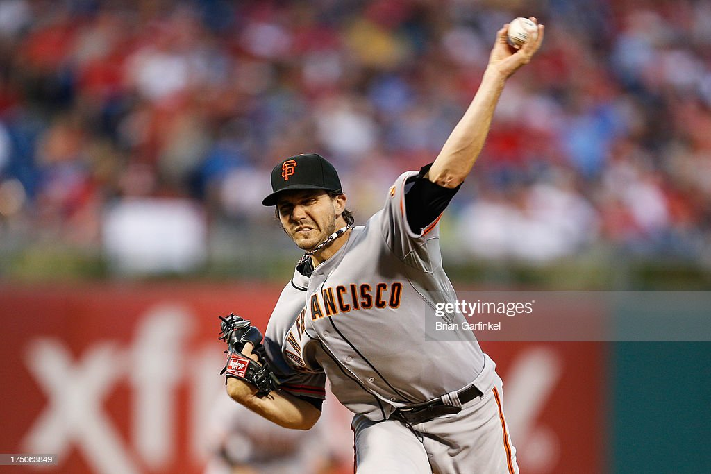 Starting pitcher <a gi-track='captionPersonalityLinkClicked' href=/galleries/search?phrase=Barry+Zito&family=editorial&specificpeople=202943 ng-click='$event.stopPropagation()'>Barry Zito</a> #75 of the San Francisco Giants throws a pitch during the game against the Philadelphia Phillies at Citizens Bank Park on July 30, 2013 in Philadelphia, Pennsylvania.