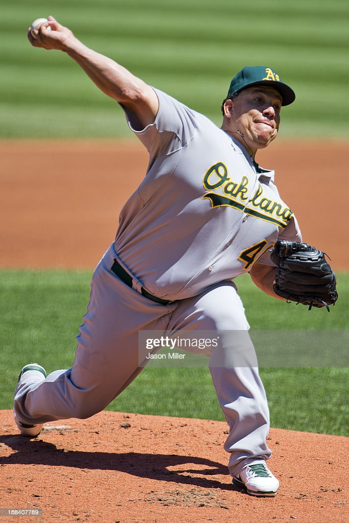 Starting pitcher <a gi-track='captionPersonalityLinkClicked' href=/galleries/search?phrase=Bartolo+Colon&family=editorial&specificpeople=175812 ng-click='$event.stopPropagation()'>Bartolo Colon</a> #40 of the Oakland Athletics pitches during the first inning against the Cleveland Indians at Progressive Field on May 9, 2013 in Cleveland, Ohio.