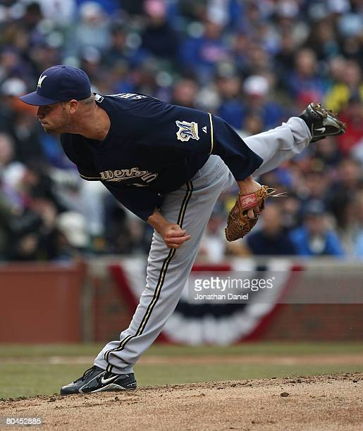 Starting pitcher Ben Sheets of the Milwaukee Brewers follows through after delivering a pitch against the Chicago Cubs during the Opening Day game at...