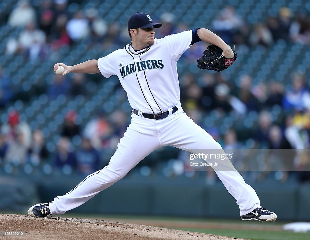 Starting pitcher <a gi-track='captionPersonalityLinkClicked' href=/galleries/search?phrase=Blake+Beavan&family=editorial&specificpeople=7089112 ng-click='$event.stopPropagation()'>Blake Beavan</a> #49 of the Seattle Mariners pitches against the Los Angeles Angels of Anaheim at Safeco Field on October 3, 2012 in Seattle, Washington.