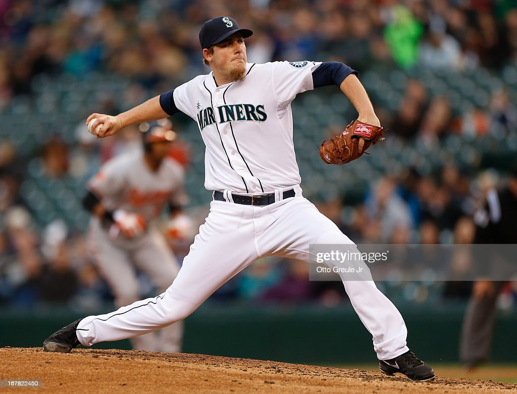 Starting pitcher Brandon Maurer #37 of the Seattle Mariners pitches against the Baltimore Orioles in the second inning at Safeco Field on April 30, 2013 in Seattle, Washington.