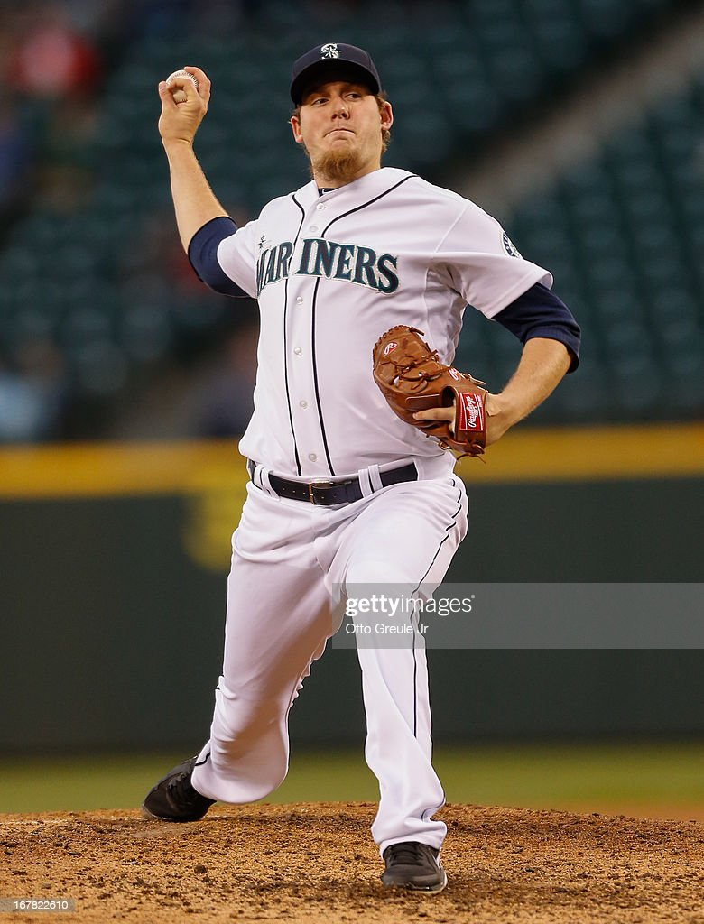 Starting pitcher Brandon Maurer #37 of the Seattle Mariners pitches against the Baltimore Orioles at Safeco Field on April 30, 2013 in Seattle, Washington.