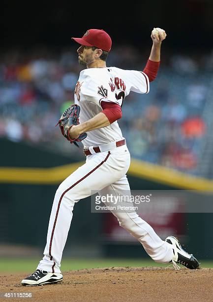 Starting pitcher Brandon McCarthy of the Arizona Diamondbacks pitches against the Milwaukee Brewers during the MLB game at Chase Field on June 16...