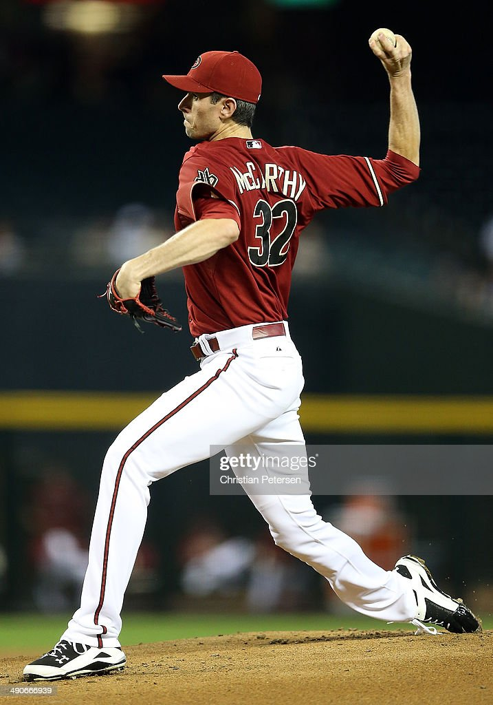 Starting pitcher <a gi-track='captionPersonalityLinkClicked' href=/galleries/search?phrase=Brandon+McCarthy&family=editorial&specificpeople=224849 ng-click='$event.stopPropagation()'>Brandon McCarthy</a> #32 of the Arizona Diamondbacks pitches against the Washington Nationals during the MLB game at Chase Field on May 14, 2014 in Phoenix, Arizona. The Nationals defeated the Diamondbacks 5-1.