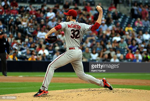 Starting pitcher Brandon McCarthy of the Arizona Diamondbacks throws the ball in the first inning of the game against the San Diego Padres at Petco...