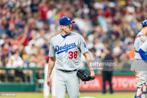 Starting pitcher Brandon McCarthy of the Los Angeles Dodgers leaves the game during the sixth inning against the Cleveland Indians at Progressive...