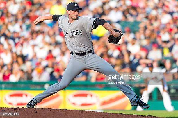 Starting pitcher Brandon McCarthy of the New York Yankees pitches during the second inning against the Cleveland Indians at Progressive Field on July...