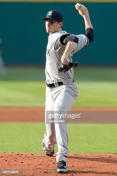 Starting pitcher Brandon McCarthy of the New York Yankees pitches during the first inning against the Cleveland Indians at Progressive Field on July...