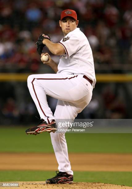 Starting pitcher Brandon Webb of the Arizona Diamondbacks pitches against the Colorado Rockies during the MLB openning day game at Chase Field on...
