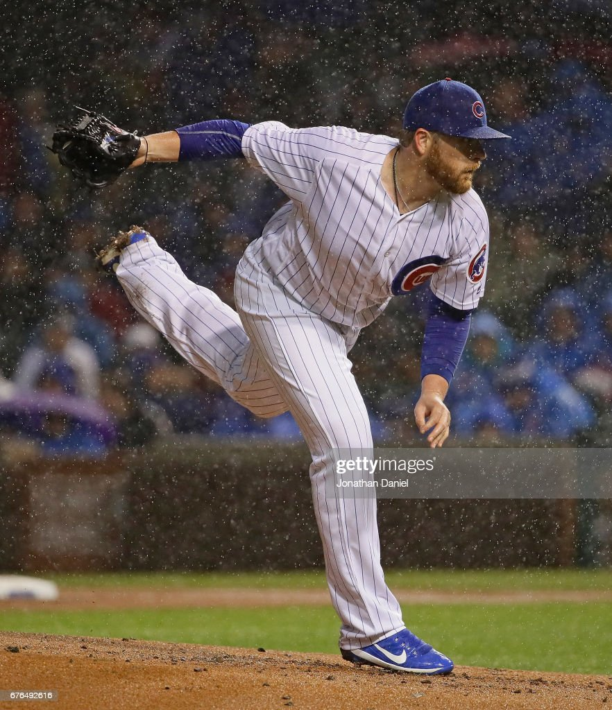 Starting pitcher Brett Anderson #37 of the Chicago Cubs delivers the ball against the Philadelphia Phillies at Wrigley Field on May1, 2017 in Chicago, Illinois.