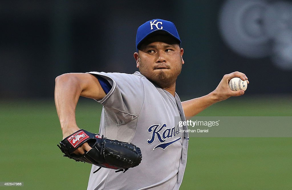 Starting pitcher <a gi-track='captionPersonalityLinkClicked' href=/galleries/search?phrase=Bruce+Chen&family=editorial&specificpeople=213886 ng-click='$event.stopPropagation()'>Bruce Chen</a> #52 of the Kansas City Royals delivers the ball against the Chicago White Sox at U.S. Cellular Field on July 22, 2014 in Chicago, Illinois. The Royals defeated the White Sox 7-1.