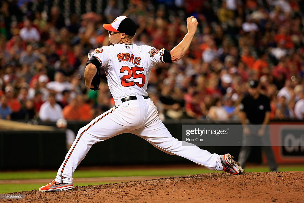 Starting pitcher <a gi-track='captionPersonalityLinkClicked' href=/galleries/search?phrase=Bud+Norris&family=editorial&specificpeople=5746311 ng-click='$event.stopPropagation()'>Bud Norris</a> #25 of the Baltimore Orioles throws to a Boston Red Sox batter during the seventh inning at Oriole Park at Camden Yards on June 9, 2014 in Baltimore, Maryland.
