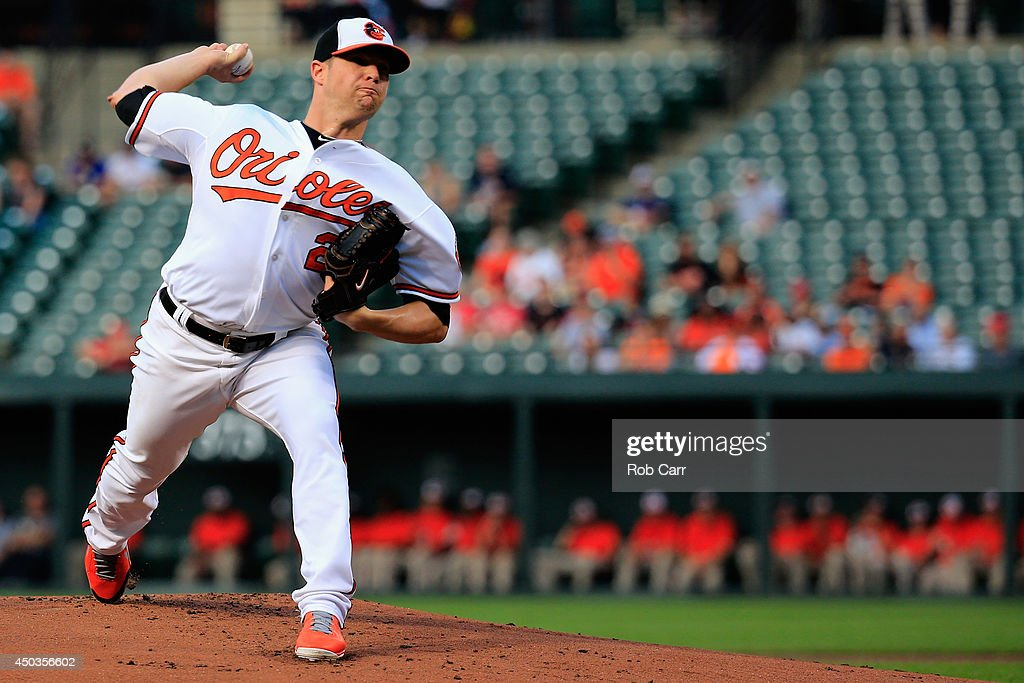 Starting pitcher <a gi-track='captionPersonalityLinkClicked' href=/galleries/search?phrase=Bud+Norris&family=editorial&specificpeople=5746311 ng-click='$event.stopPropagation()'>Bud Norris</a> #25 of the Baltimore Orioles throws to a Boston Red Sox batter during the second inning at Oriole Park at Camden Yards on June 9, 2014 in Baltimore, Maryland.
