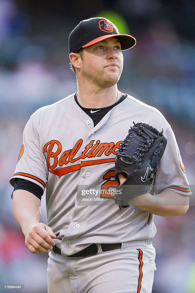 Starting pitcher <a gi-track='captionPersonalityLinkClicked' href=/galleries/search?phrase=Bud+Norris&family=editorial&specificpeople=5746311 ng-click='$event.stopPropagation()'>Bud Norris</a> #25 of the Baltimore Orioles walks off the field after the top of the seventh inning against the Cleveland Indians at Progressive Field on September 2, 2013 in Cleveland, Ohio.