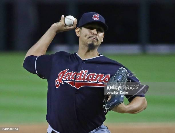 Starting pitcher Carlos Carrasco of the Cleveland Indians delivers the ball against the Chicago White Sox at Guaranteed Rate Field on September 6...