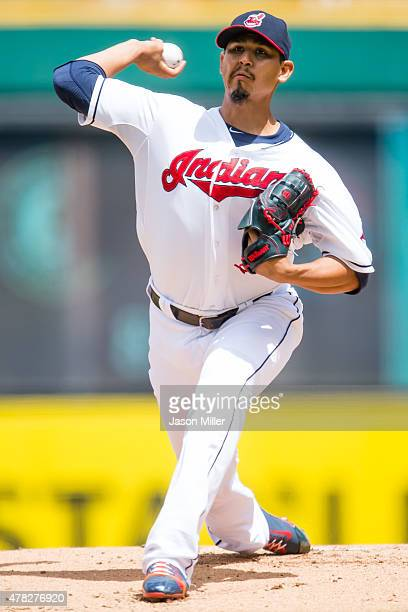 Starting pitcher Carlos Carrasco of the Cleveland Indians pitches during the first inning against the Detroit Tigers at Progressive Field on June 24...