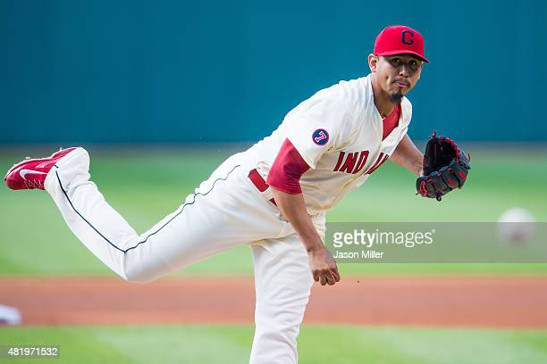 Starting pitcher Carlos Carrasco of the Cleveland Indians pitches during the first inning against the Chicago White Sox at Progressive Field on July...