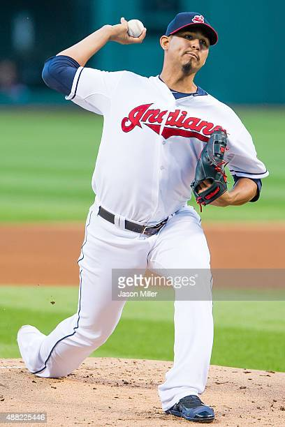 Starting pitcher Carlos Carrasco of the Cleveland Indians pitches during the first inning against the Kansas City Royals at Progressive Field on...