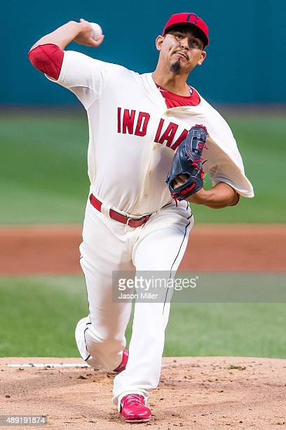 Starting pitcher Carlos Carrasco of the Cleveland Indians pitches during the first inning against the Chicago White Sox at Progressive Field on...