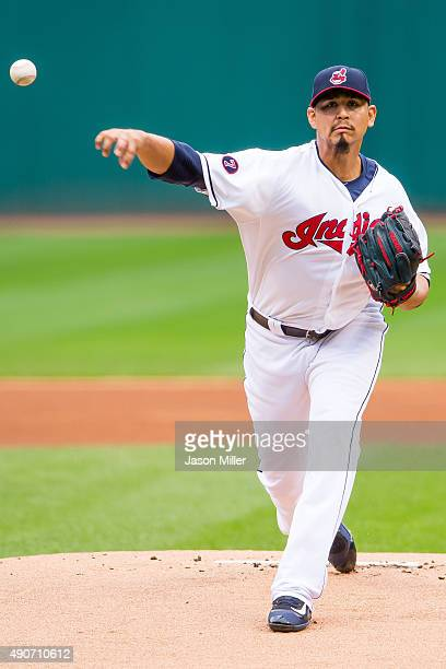 Starting pitcher Carlos Carrasco of the Cleveland Indians pitches during the first inning of game one of a double header against the Minnesota Twins...