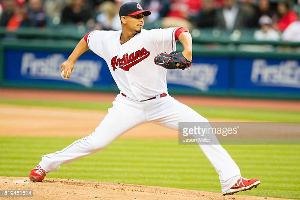 Starting pitcher Carlos Carrasco of the Cleveland Indians pitches during the first inning against the Boston Red Sox at Progressive Field on April 6...