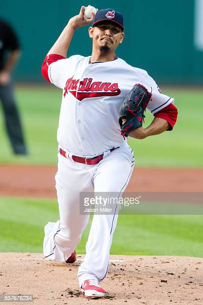 Starting pitcher Carlos Carrasco of the Cleveland Indians pitches during the first inning against the Kansas City Royals at Progressive Field on June...