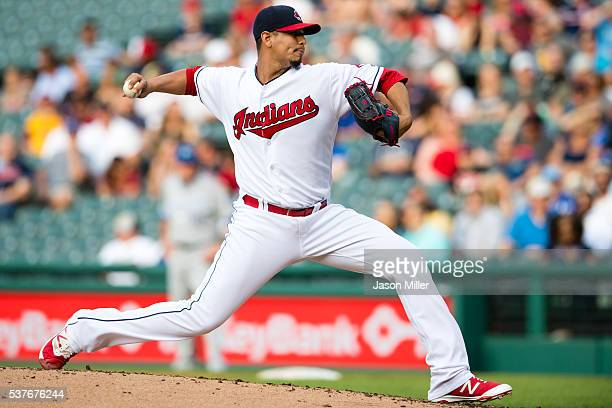 Starting pitcher Carlos Carrasco of the Cleveland Indians pitches during the second inning against the Kansas City Royals at Progressive Field on...
