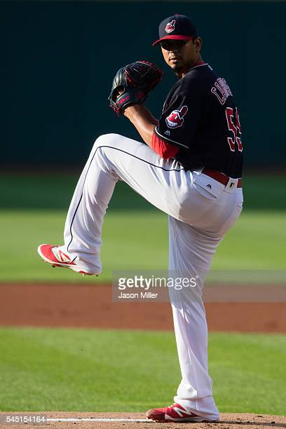 Starting pitcher Carlos Carrasco of the Cleveland Indians pitches during the first inning against the Detroit Tigers at Progressive Field on July 5...