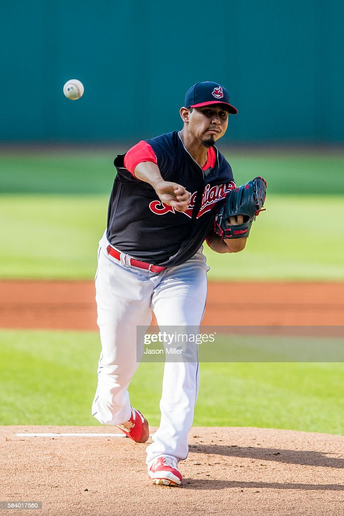 Starting pitcher Carlos Carrasco #59 of the Cleveland Indians pitches during the first inning against the Detroit Tigers at Progressive Field on July 5, 2016 in Cleveland, Ohio.