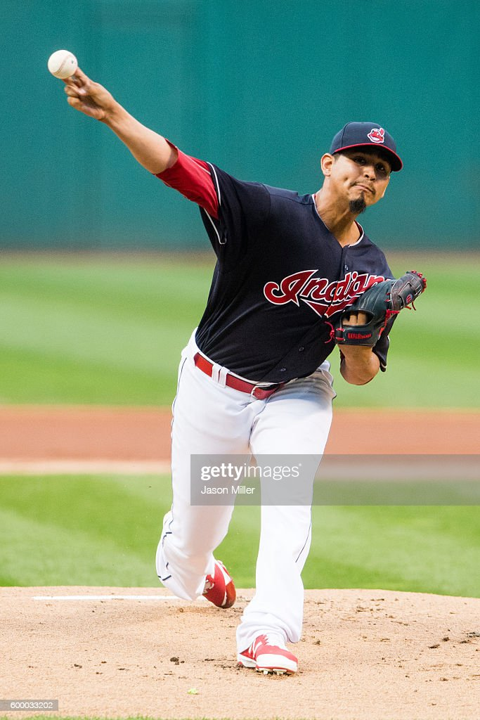 Starting pitcher Carlos Carrasco #59 of the Cleveland Indians pitches during the first inning against the Houston Astros at Progressive Field on September 7, 2016 in Cleveland, Ohio.