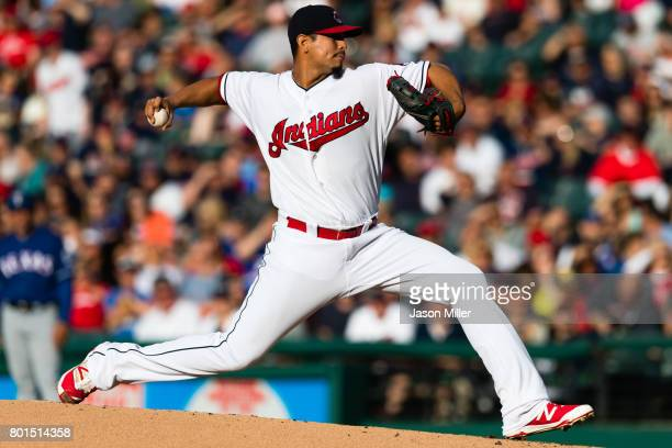 Starting pitcher Carlos Carrasco of the Cleveland Indians pitches during the first inning against the Texas Rangers at Progressive Field on June 26...