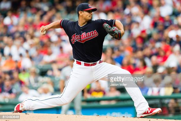 Starting pitcher Carlos Carrasco of the Cleveland Indians pitches during the first inning against the Detroit Tigers at Progressive Field on July 7...