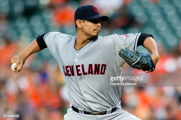 Starting pitcher Carlos Carrasco of the Cleveland Indians throws a pitch to a Baltimore Orioles batter in the first inning during a game at Oriole...