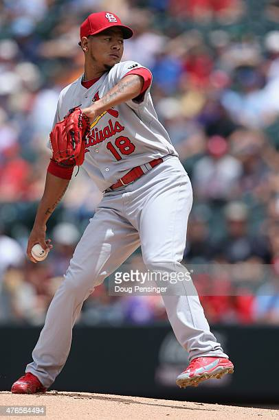 Starting pitcher Carlos Martinez of the St Louis Cardinals at Coors Field on June 10 2015 in Denver Colorado