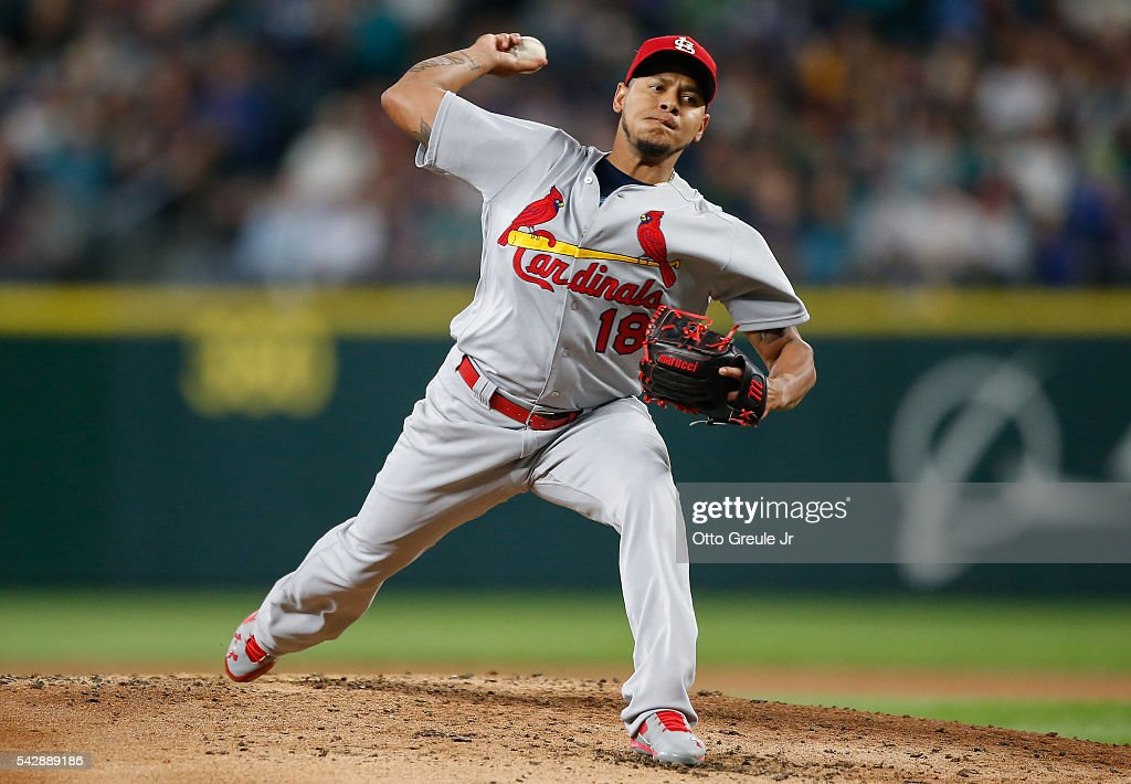Starting pitcher Carlos Martinez #18 of the St. Louis Cardinals pitches against the Seattle Mariners in the second inning at Safeco Field on June 24, 2016 in Seattle, Washington.