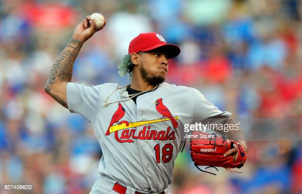 Starting pitcher Carlos Martinez of the St Louis Cardinals pitches during the 1st inning of the game against the Kansas City Royals at Kauffman...