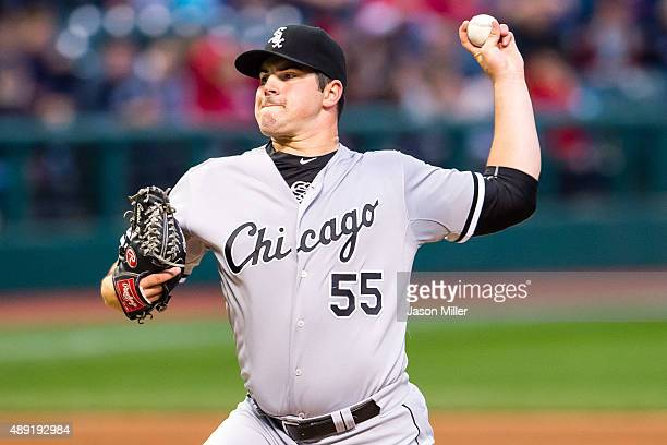 Starting pitcher Carlos Rodon of the Chicago White Sox pitches during the first inning against the Cleveland Indians at Progressive Field on...