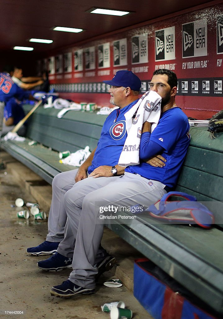Starting pitcher Carlos Villanueva #33 of the Chicago Cubs sits in the dugout during the MLB game against the Arizona Diamondbacks at Chase Field on July 25, 2013 in Phoenix, Arizona.