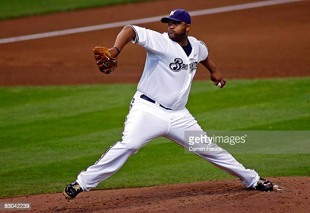 Starting pitcher CC Sabathia of the Milwaukee Brewers pitches against the Chicago Cubs in the second inning at Miller Park on September 28 2008 in...
