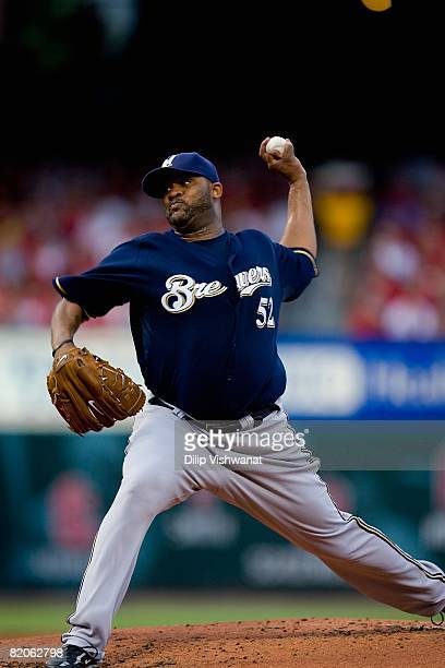 Starting pitcher CC Sabathia of the Milwaukee Brewers throws against the St Louis Cardinals on July 23 2008 at Busch Stadium in St Louis Missouri