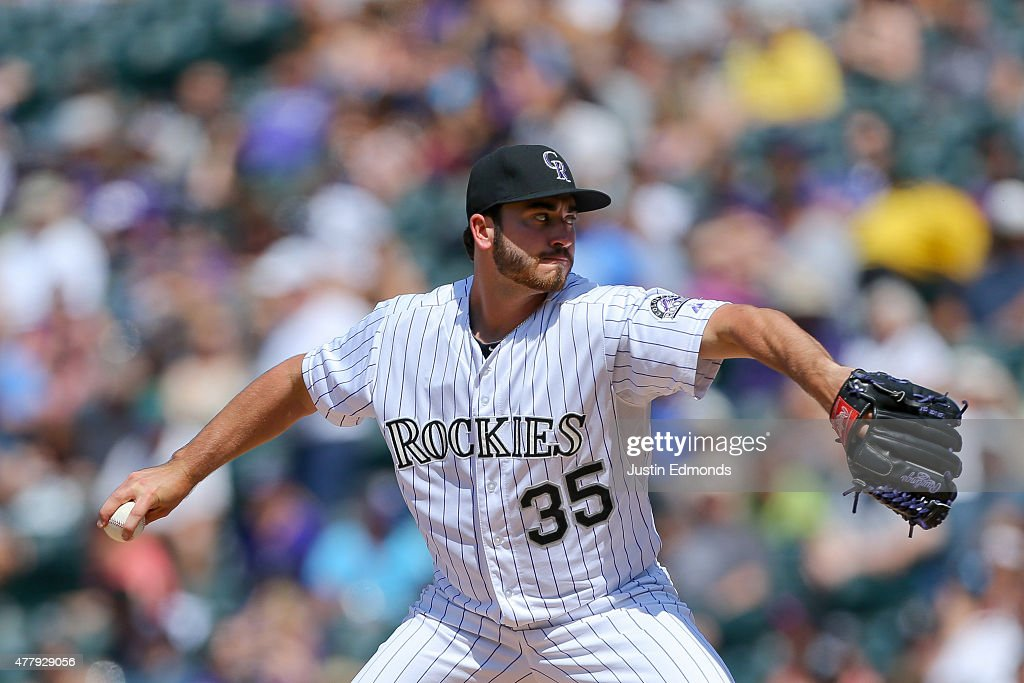 Starting pitcher Chad Bettis #35 of the Colorado Rockies delivers to home plate during the fourth inning against the Milwaukee Brewers at Coors Field on June 20, 2015 in Denver, Colorado.