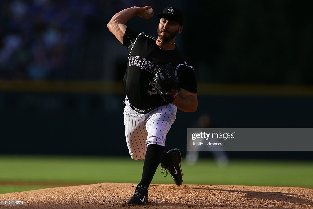 Starting pitcher Chad Bettis #35 of the Colorado Rockies delivers to home plate during the first inning against the Philadelphia Phillies at Coors Field on July 7, 2016 in Denver, Colorado.
