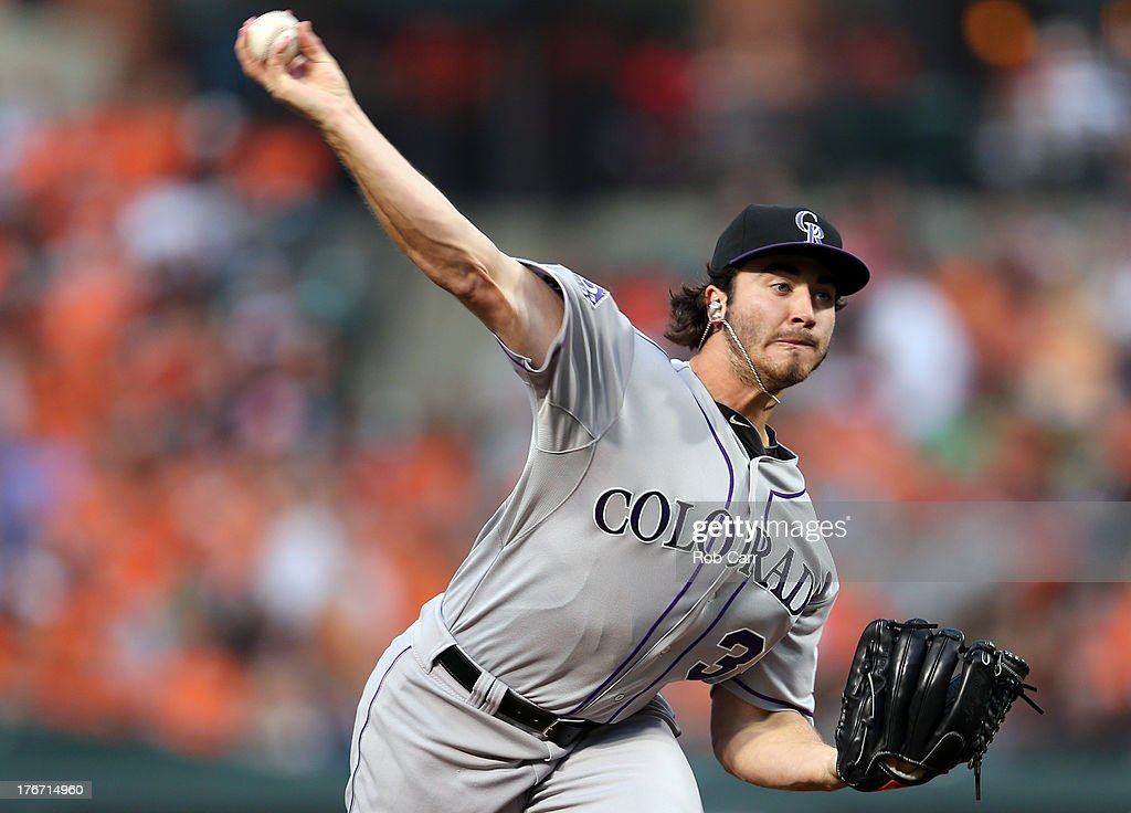 Starting pitcher Chad Bettis #35 of the Colorado Rockies throws to a Baltimore Orioles batter during the first inning at Oriole Park at Camden Yards on August 17, 2013 in Baltimore, Maryland.