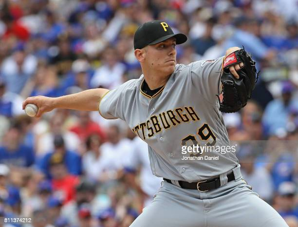 Starting pitcher Chad Kuhl of the Pittsburgh Pirates delivers the ball against the Chicago Cubs at Wrigley Field on July 9 2017 in Chicago Illinois